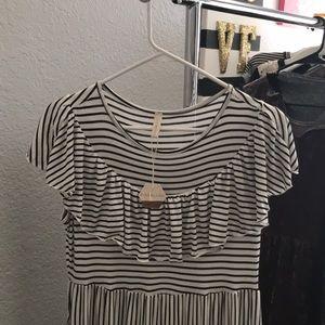 Ivory Striped Ruffle Trim Maxi dress